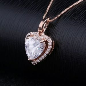 NEW ROSE GOLD PLATED DIAMOND HALO HEART NECKLACE